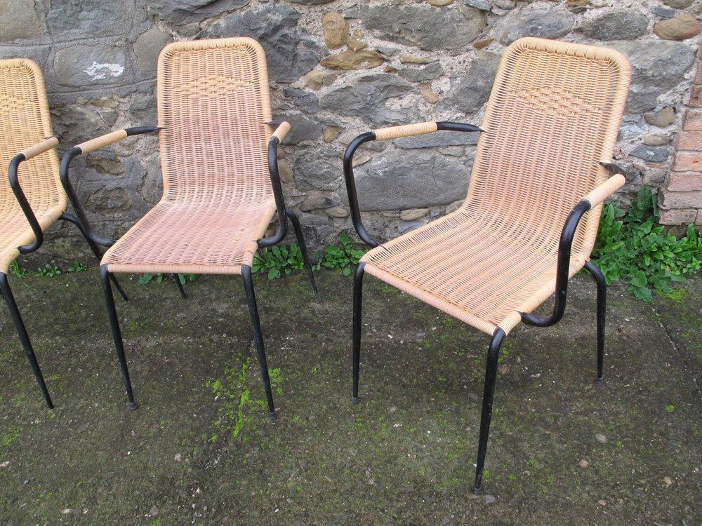 Sedie Intrecciate In Plastica.Rovistando Modernariato 20th Century Design 4 Sedie Gialle