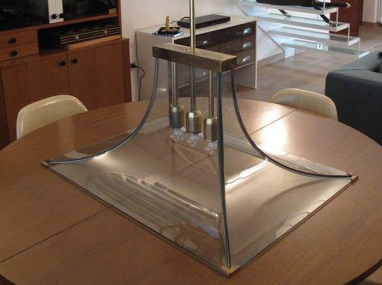 lampadario anni 50 vetri curvi