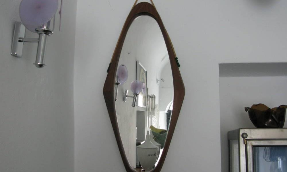 TEAK AND ROPE MIRROR