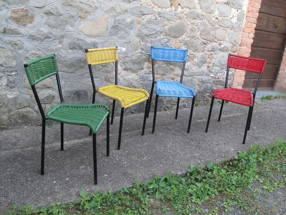 lotto 4 sedie bar in plastica anni 60