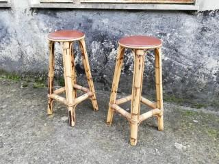 BAMBOO BAR STOOLS PAIR