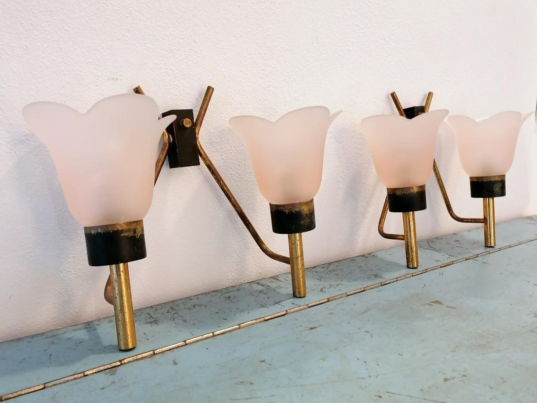 4 lampade vetro rosa
